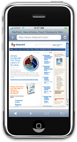 Screenshot of sitepoint.com as viewed in the iPhoney application