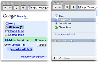 A before and after comparison of the navigation bar of Google Reader, as styled by Jon Hicks""