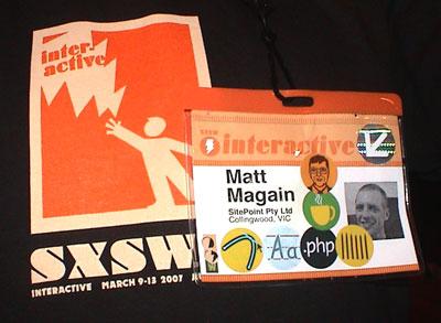 Matthew Magain's SXSW Interactive badge