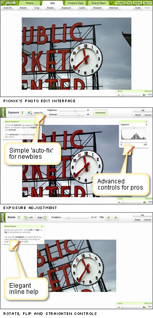Picnik's user interface