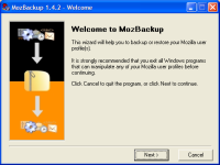 Mozbackup in action