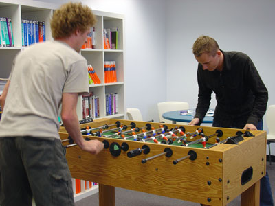 SitePoint co-founder Matt Mickiewicz claims a narrow victory in foosball