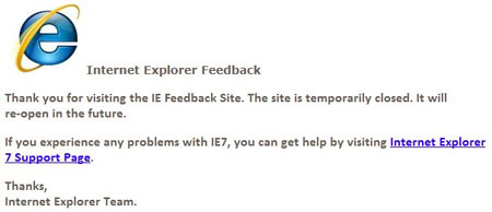 Thank you for visiting the IE Feedback Site. The site is temporarily closed. It will re-open in the future.