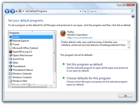 Set Default Programs window