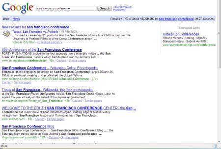 Google search on conferences in San Francisco