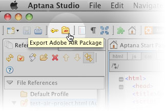 Exporting an AIR package in Aptana Studio