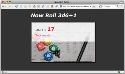 A screenshot of a Now Roll... archived dice roll page