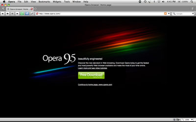 A screen shot of the Opera 9.5 home page