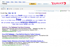A Yahoo search for 'twitaway' using the Cloudlet plugin reveals related terms like 'SitePoint' and 'book'