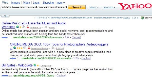 Yahoo! displays all links.