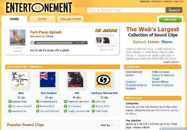 Basic and useful, Entertonement is not overwhelming as a site.
