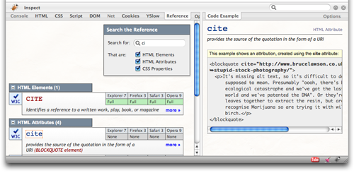 A screenshot of CodeBurner, showing the Reference tab open in its default view