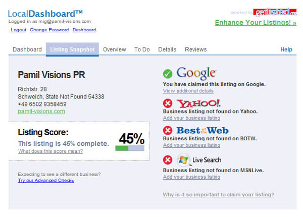 Local listing snapshot pulled in by GetListed.org