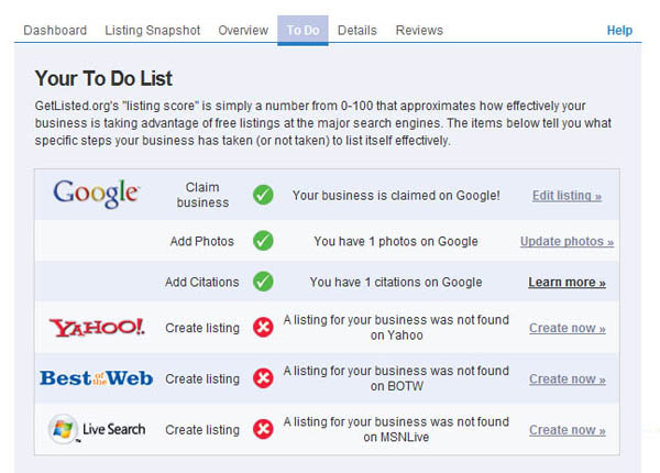To do list, generated by GetListed.org