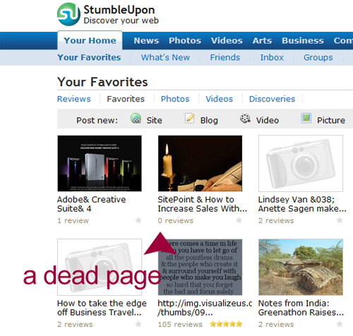 A Dead Page at StumbleUpon