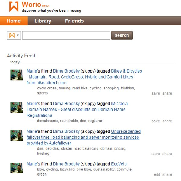 The Worio activity feed showing friends
