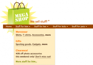A mockup of the intended design, showing a mega dropdown