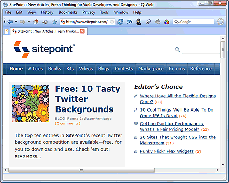 QtWeb screenshot