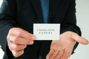 Man presents a business card