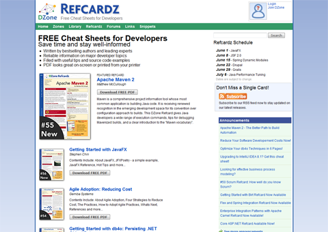 DZone Refcardz screenshot