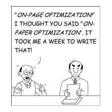 On-page SEO cartoon.