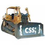A bulldozer pushing the letters C S S