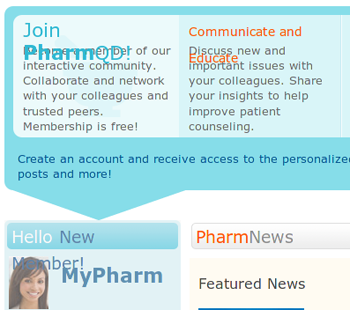 PharmQD website, broken due to a missing font