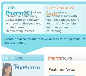 PharmQD website, broken due to a missing font