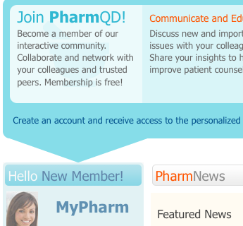 The correct appearance of the PharmQD website