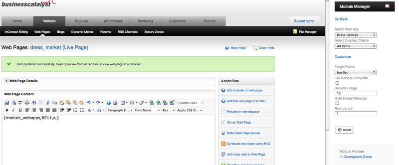 Add Listing Module to Page