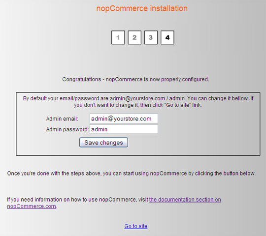 nopCommerce install