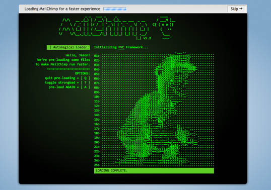 A screenshot of the ASCII version of Freddie Von Chimpenheimer IV, MailChimp loading screen.