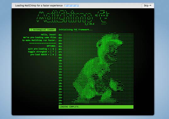 A screenshot of the ASCII version of Freddie Von Chimpenheimer IV, MailChimp loading screen.