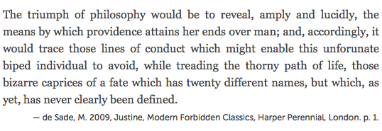 A screenshot of Firefox rendering the blockquote with cite attribute code, the quoted material being the opening paragraph from Justine, by Marquis de Sade.