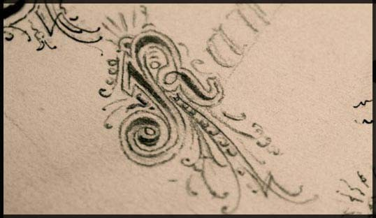 Photo of carefully pencilled versal lettering from a sketchbook.