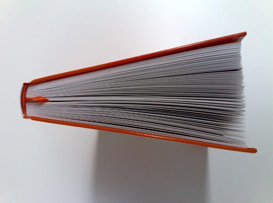 Top side view of the book.