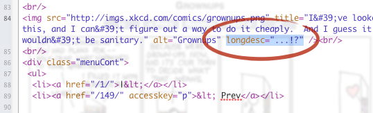 A screenshot of the markup from an xkcd comic page superimposed over the rendered page with a longdesc attribute.