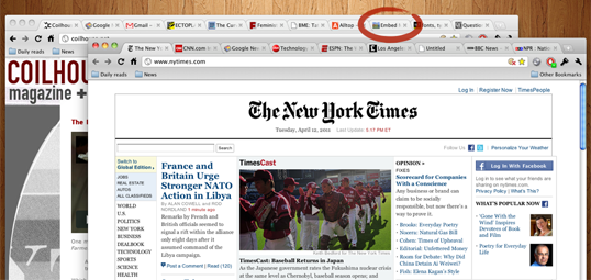 A screenshot of two Google Chrome browser windows under Mac OS X with lots of tabs open a tab highlighted as an offending music-playing page.