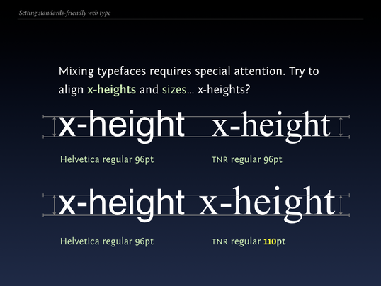 Slide 88 from Standards friendly web type: x-heights