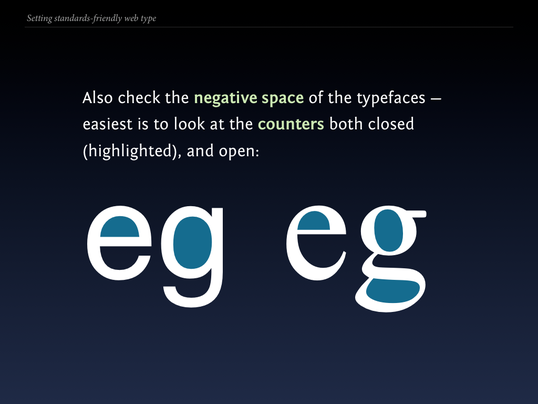 Slide 90 from Standards friendly web type: negative space