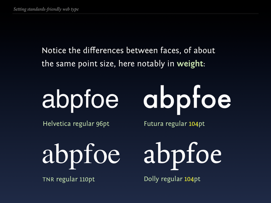 Slide 92 from Standards friendly web type: differences in weight