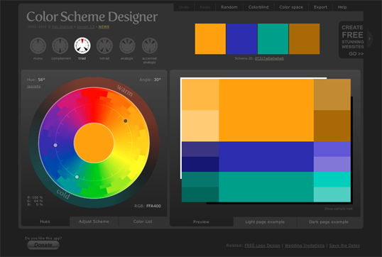 Fig. 2, Color Scheme Designer 3—the author's pick