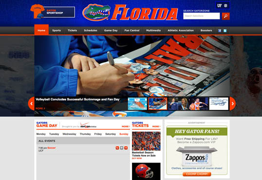 Fig. 11, The University of Florida Athletics website uses bold complementary colors