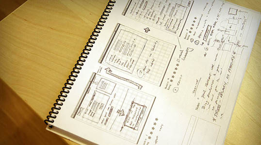 A photo of a set of web design layout sketches from webdesign-sketchbook.com.