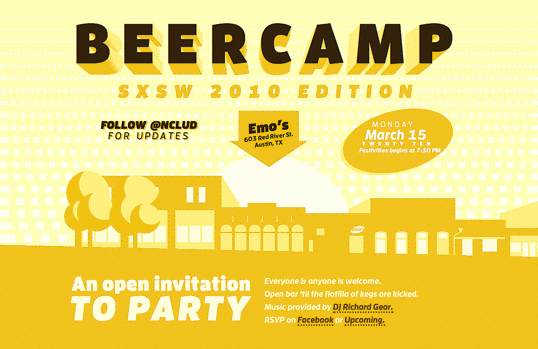 The BeerCamp 2010 homepage: a tiny piece of SXSW history