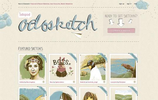 The sketch.odopod.com homepage