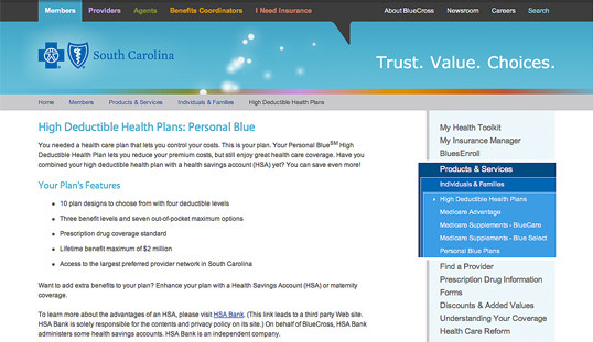 Right-column navigation at BlueCross BlueShield of South Carolina