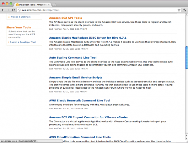 AWS Developer Tools page