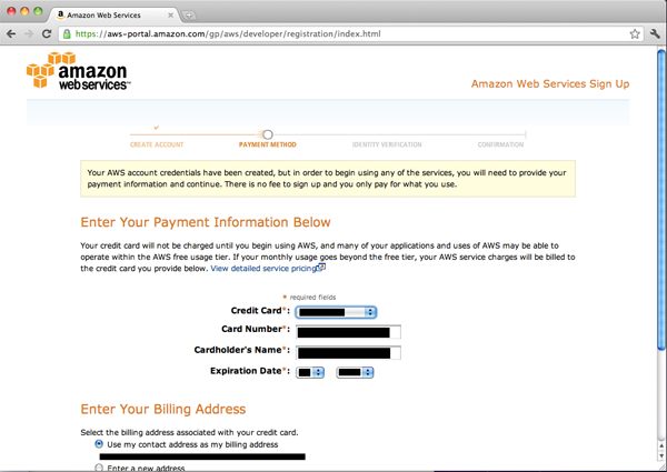 AWS Payment Information screen