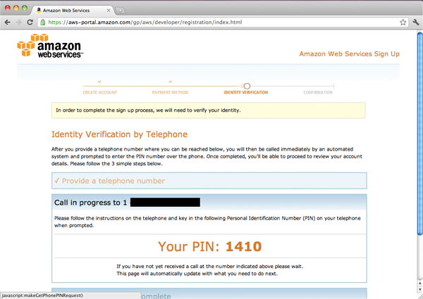 AWS Identity Verification screen